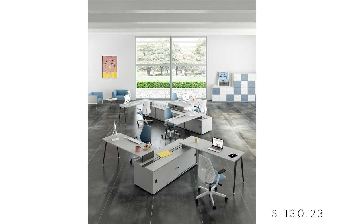 scrivania gamba_a_cavalletto Quadrifoglio