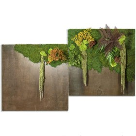 Linfa decor Quadri metallo Metal Rust Green Forest