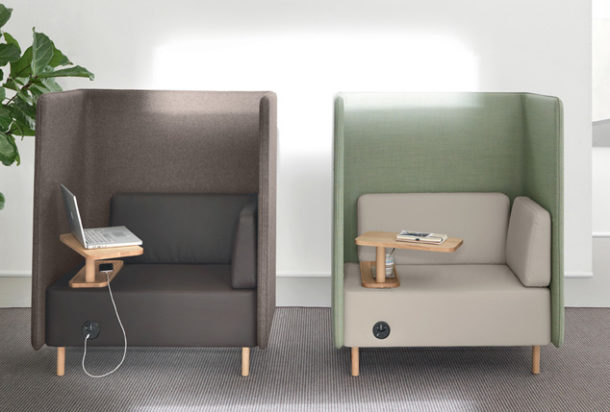 Martex Nucleo Business divano con paretine fonoassorbenti